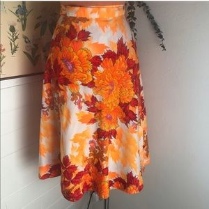 Vintage Peony Print Psychedelic Wrap Skirt
